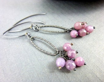 Pink Sapphire Earrings, Heart Chakra, September Birthstone, Sterling Silver, Healing Crystals Chakra Jewelry