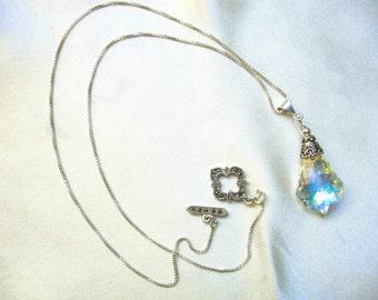 Bridal Baroque Swarovski Necklace sterling silver and marcasite