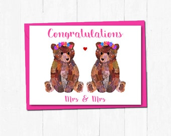 Mrs and Mrs wedding card, Cute bear wedding card, Lesbian wedding card, Gay couple wedding card, Civil partnership card, Bride love card