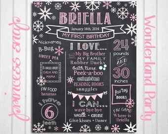 Winter First Birthday Chalkboard Poster - Winter 1st Birthday Chalk Board Sign - Printable Photo Prop