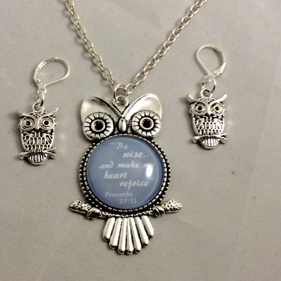 Be Wise...and make my heart Rejoice, Owl Pendant and Lever Back Earrings set