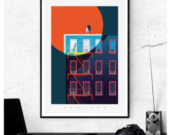 New York Blood Moon Art Print - Water Tanks and Fire Escapes, Illustrated Matte & Giclee Art Prints.  Home Decor, Art Prints of New York