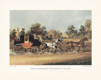 Carriage driving The Taglioni Windsor Coach horse drawn carriage vintage print illustration home office décor 9.5 x 7 inches