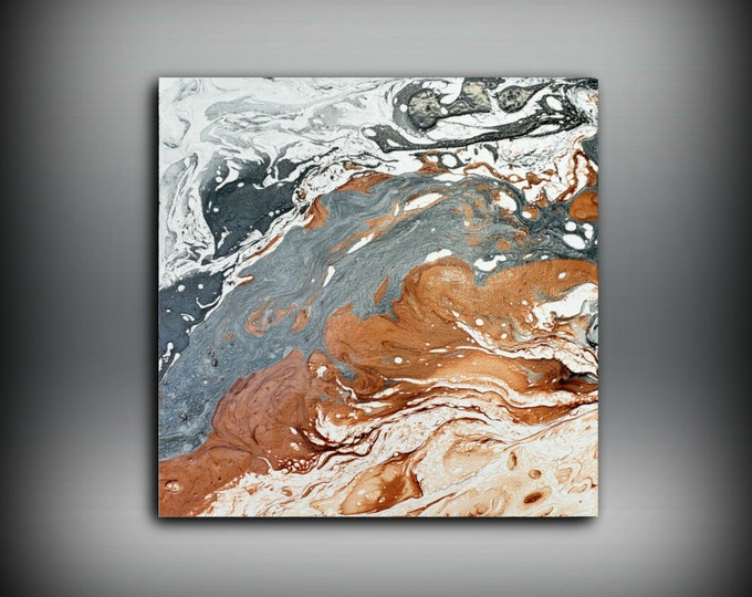 "Abstract Handmade Wall Art Painting - Painting on Canvas - Small Size 10 x 10"" - Modern Home Decor Silver and Copper Wall ART Original Art"