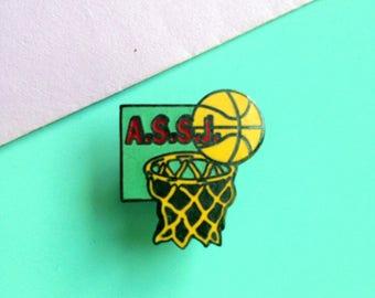 Vintage enamel pin badge Basketball A.S.S.J. pin