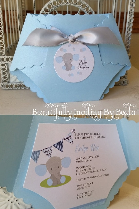 Baby Elephant Baby Shower Invitation  Blue And Gray Baby Shower Baby Boy  Shower   Custom Die Cut Invitation
