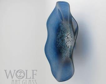 MADE TO ORDER Glass Wall Art Denim Blue Poppy Flower Wall Decor Art Glass Sculpture