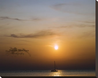 Come Sail Away Sunset Digital Photo, Wall Art, Photography - Primosten, Croatia