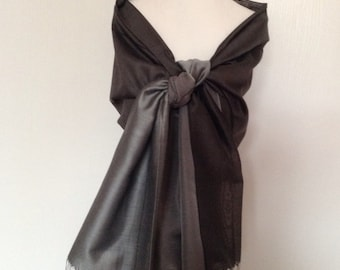 Shades of gray silk wedding shawl