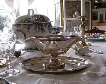 Silver-plated gravy boat