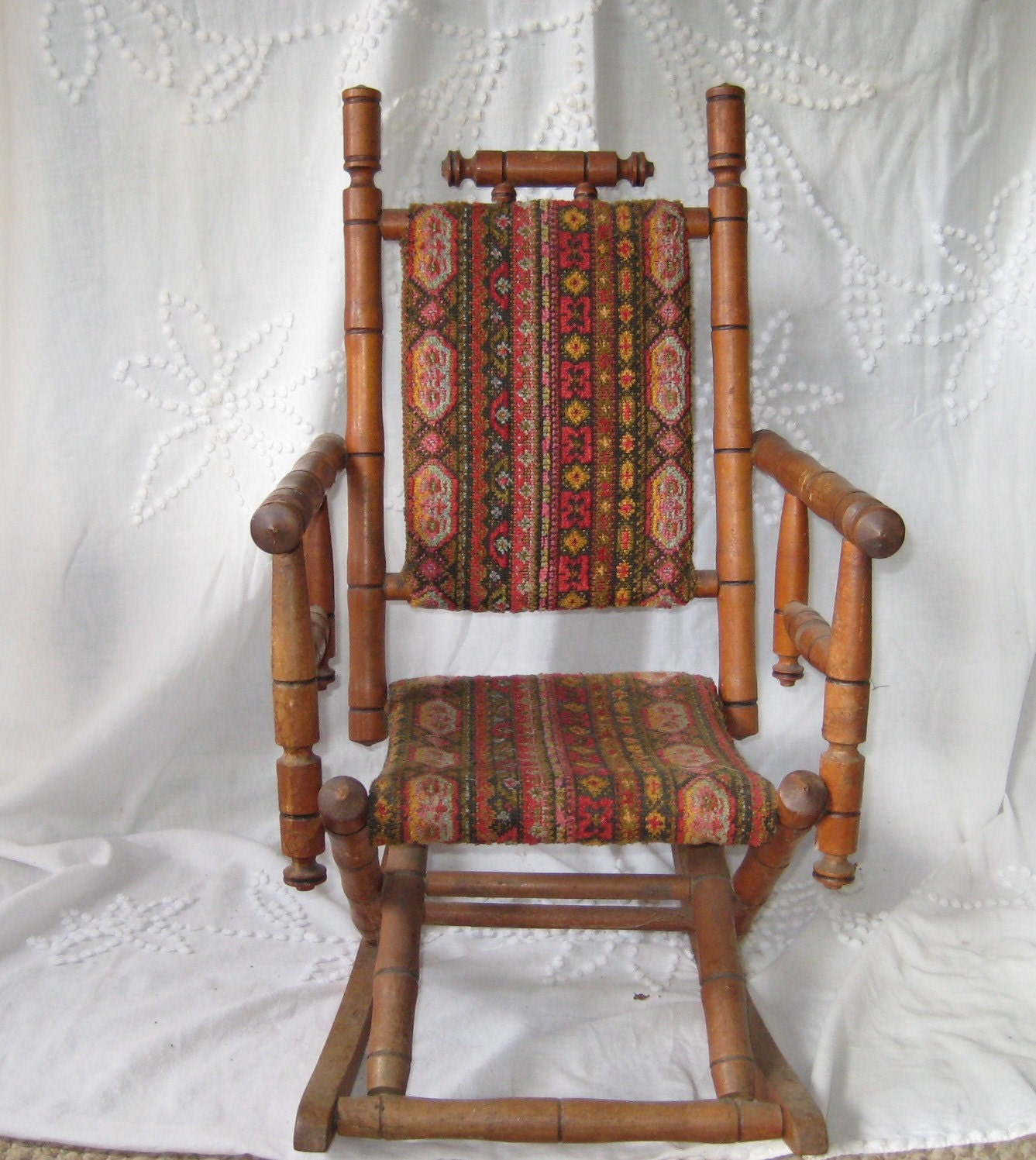 🔎zoom - Antique Rocking Chair Childs Rocking Chair Upholstered
