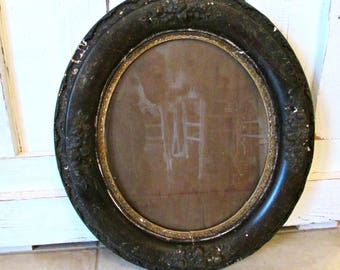 Antique Ornate Repousse  Fancy Oval Victorian Picture Frame