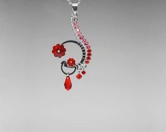 Red and Pink Swarovski Crystal Pendant, Industrial Jewelry, Swarovski Necklace, Valentine Jewelry, Bridal Jewelry, Bellatrix v3