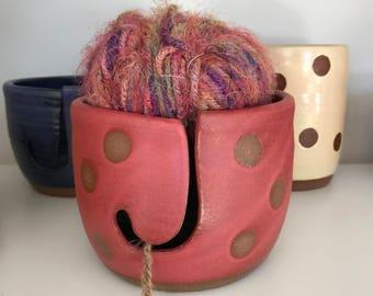 yarn bowl in cherry dot