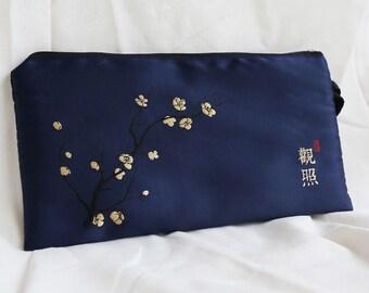Asian Style Clutch Bag ,Zen Handbag,Chinese Character  Kanji, Cell Phone Wristlet Clutch, Evening Bag, Zipper Clutch, Wristlet Purse