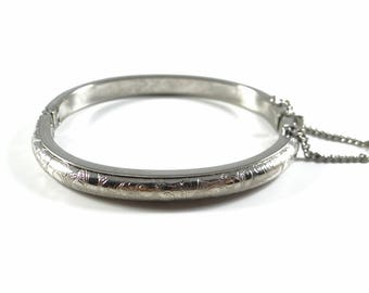 Silver Hinged Bracelet with Safety Chain, Silver Scroll Bracelet