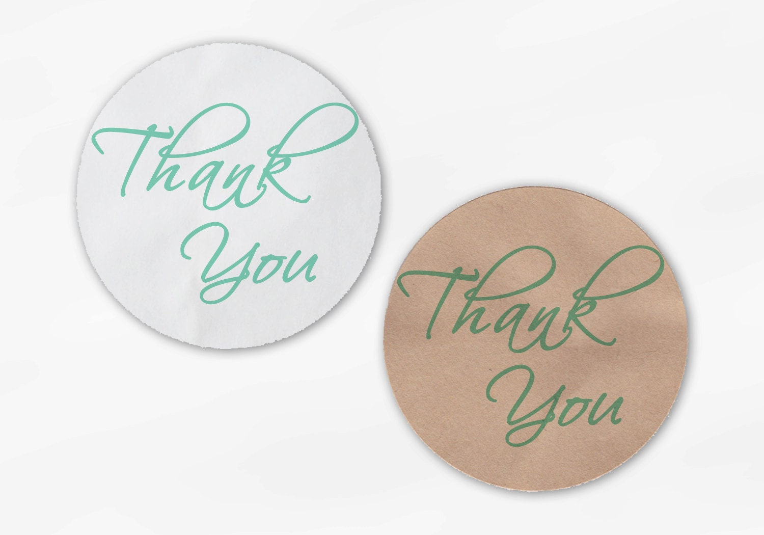 Thank You Script Wedding Favor Stickers in Mint Green - Custom White ...