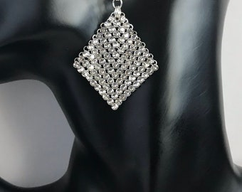Swarovski Crystal mesh Sterling Silver Earrings
