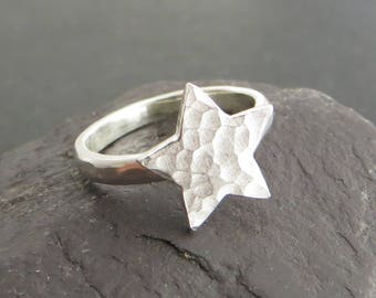Silver Star Ring, Sterling Silver Stacking Ring, Textured Star Ring, Star Jewellery, Space Jewellery, All Sizes Available, UK Sellers Only