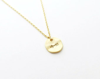 Gold Arrow Hand Stamped Charm Necklace - 14k Gold Filled Chain or Satin Hamilton Gold Plated Brass Chain (Follow Your Arrow)