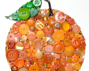Orange Fruit Kitchen Decoration Botanical Kitchen Art Fourth Anniversary Fruit and Flowers Swarovski Rhinestones florida Oranges