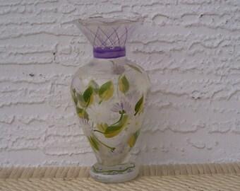 Glass Pedestal Vase with White Flower Design
