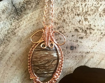 Jasper Copper Wire Pendant Necklace