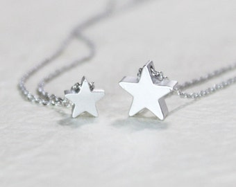 Silver Star double layering Necklace - S2227-3 - Layered necklace