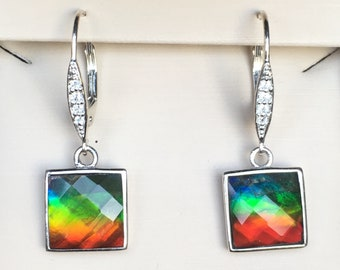 Ammoite Earrings with Square Faceted Stones