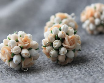 Polymer clay flower beads,polymer clay flower, flower beads,polymer clay flower jewelry