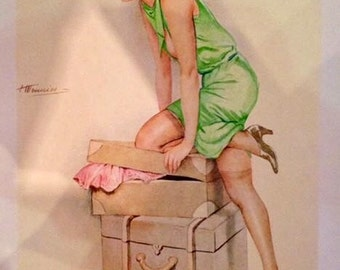 MEUNIER New 12x18 Ltd Giclee of 20's FRENCH Art Deco Travel Pinup Flapper UpSkirt, sheer seamed stockings  Pin-Up