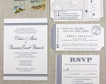 Nautical Stripe Maine Wedding Invitation