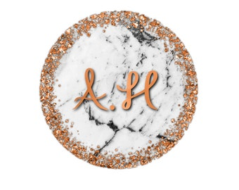 Personalised customisable initial print, rose gold/copper/silver/gold/marble