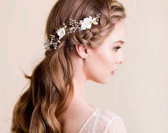 Bridal Headpiece with Silk Flower and Gold Brass Leaves - Wedding Hairpiece - Gold Hair Accessories - Back Headpiece