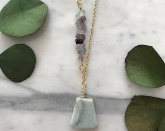 Amazonite and Flourite Necklace/ Mint and Lavender Necklace/ Boho Gemstone Necklace