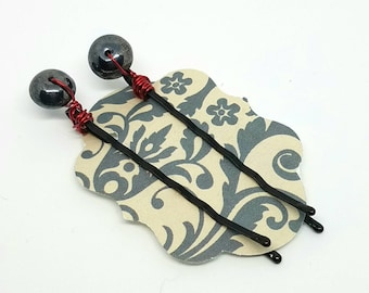Cute Decorative Hair Pins with Wire Wrapped Hematite Rondelles