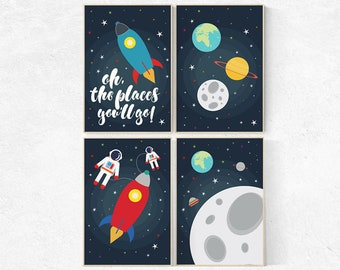 Nursery decor boys space, Space nursery decor, nursery set, space themed nursery, oh the places you'll go, space decor, kids room decor