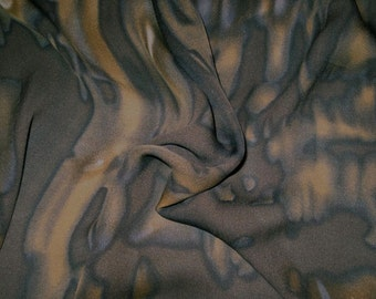SPECIAL--Dark Brown with Cocoa Tie Dye Print Pure Silk Double Georgette Fabric--BY THE Yard