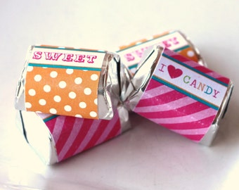 Candy Shop Party Printable mini candy wrappers - instant download
