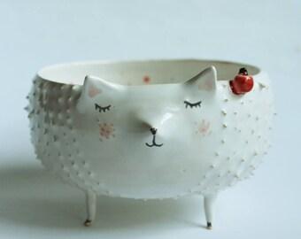 Willow the Hedgehog - hedgehog ceramic bowl, planter