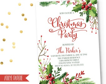 Christmas Party Invitation,Christmas Party Invites,Holiday Party Invites,Christmas Party Printable,Wreath Christmas Party Invitation,Holiday
