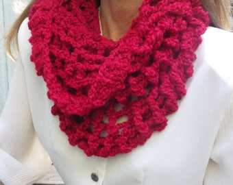 Lacy Red Hooded Scarf #red, #hooded scarf, #red scarf