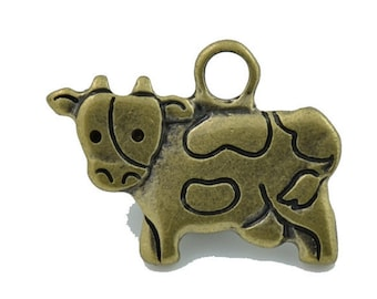 10 pcs Zinc Antique Brass Cow Ox Charms Jewelry Decorations Findings 16x21 mm.PND Cow 1621 354