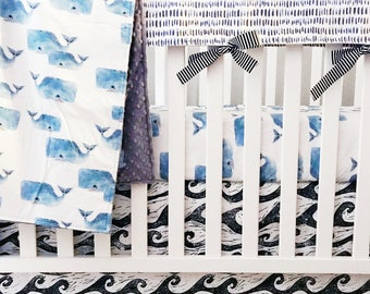 Nautical Crib Bedding. Whale Baby Blanket. Ocean Theme Nursery. Whale Crib Sheet. Rail Guards. Personalized Baby Blanket. Wave Crib Skirt.