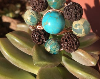 Turquoise, Jasper and Lava Rock Wire Wrapped Ring