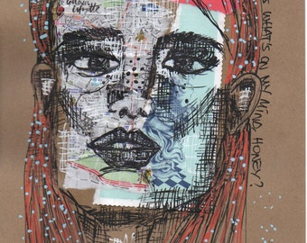 Gisele - Pen on Collaged paper