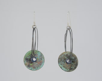 Dramatic kinetic circles earrings, sterling silver, copper, patina, bold earrings, summer jewelry, movement, verdigris, archeology, handmade