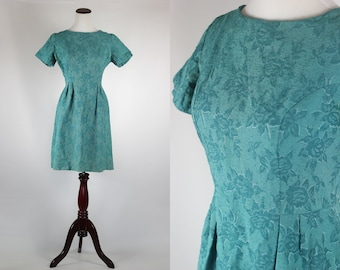Persian Green 1950's Rose Damask Dress