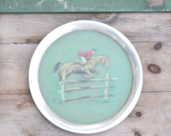 Horse Tray, Equestrian Decor, Horse Decor, Jumping Horse, Stained Glass, Round Tray, Dressage Horse, Fox Hunt, Red and Green,Decorative Tray