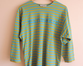 FREE SHIPPING - Vintage MARIMEKKO green and blue striped long T-shirt, size sx, made in Finland